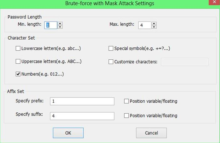Brute force Mask attack settings