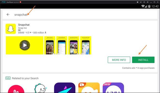 Install Snapchat on Nox