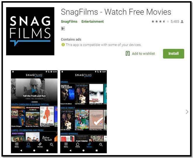 SnagFlims app